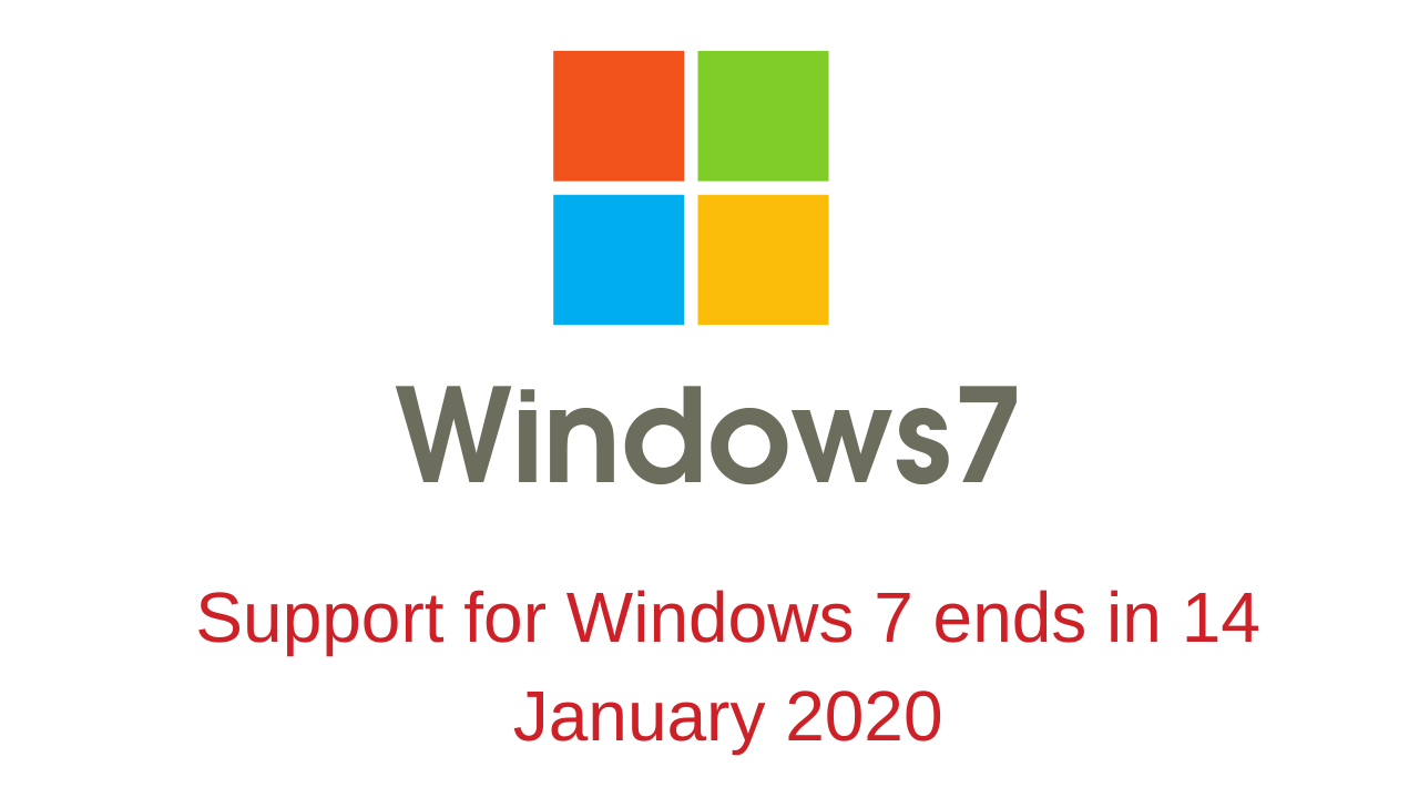 Support for Windows 7 ends in January 2020