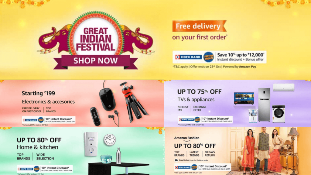 Amazon Great Indian Festival Sale Offers Live Now UP To 80% Off Festive Deals + Extra 10% HDFC Bank Discount