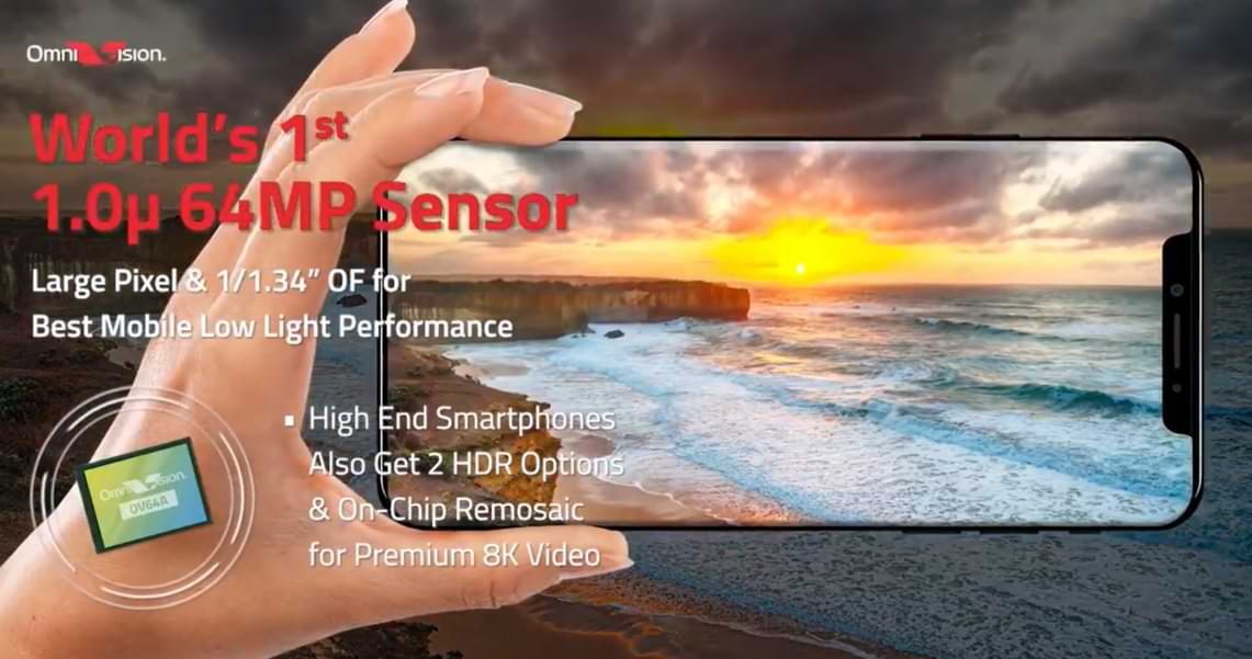 OmniVision presenta un sensor de 64 MP con píxeles de 1,0 µm