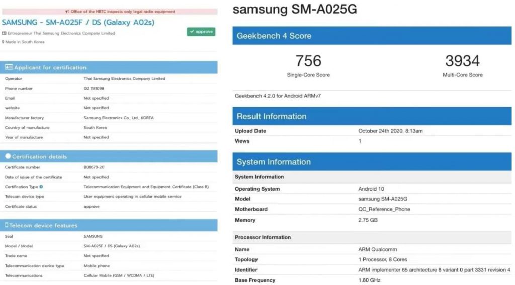 Samsung-certified entry-level Galaxy A02s, appearing on Geekbench