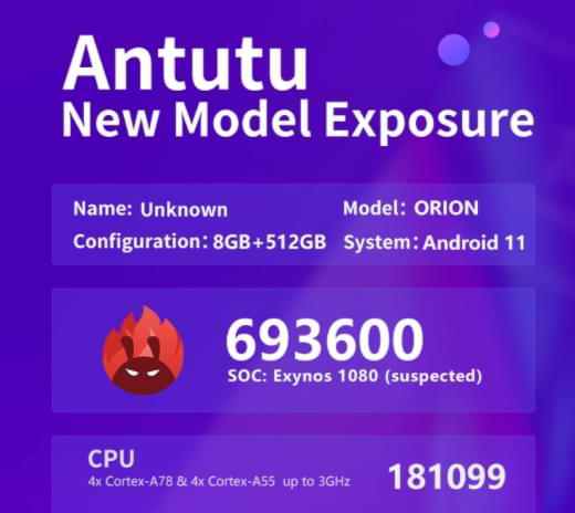 The Orion Smartphone Using Exynos 1080 Successfully Beats Snapdragon 865+