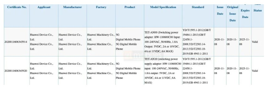Huawei Mate X2 - a foldable smartphone certified by 3C