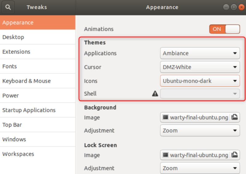 How to install GNOME pointer and icon themes in Ubuntu manually