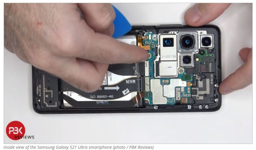 This is how the inside of the Samsung Galaxy S21 Ultra smartphone looks like