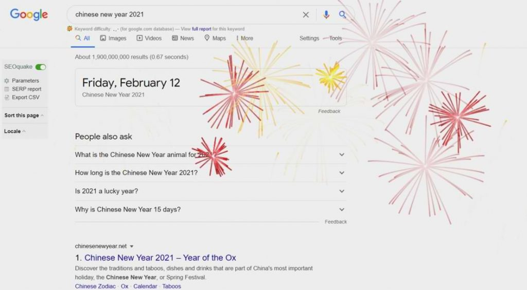 Google Will Show Fireworks in Every Search About Chinese New Year 2021