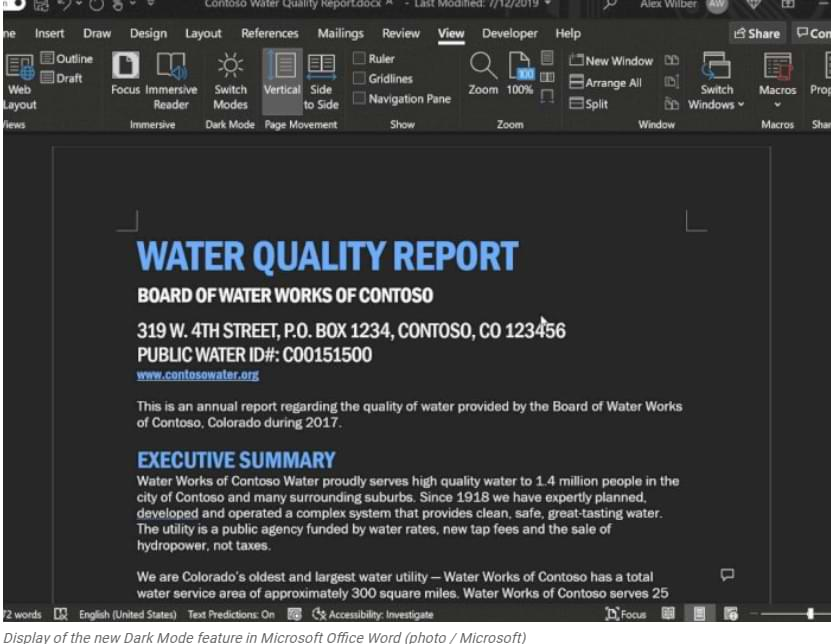 Microsoft Updates the Dark Mode Feature in the Word Application, Can Blacken the Contents of Documents