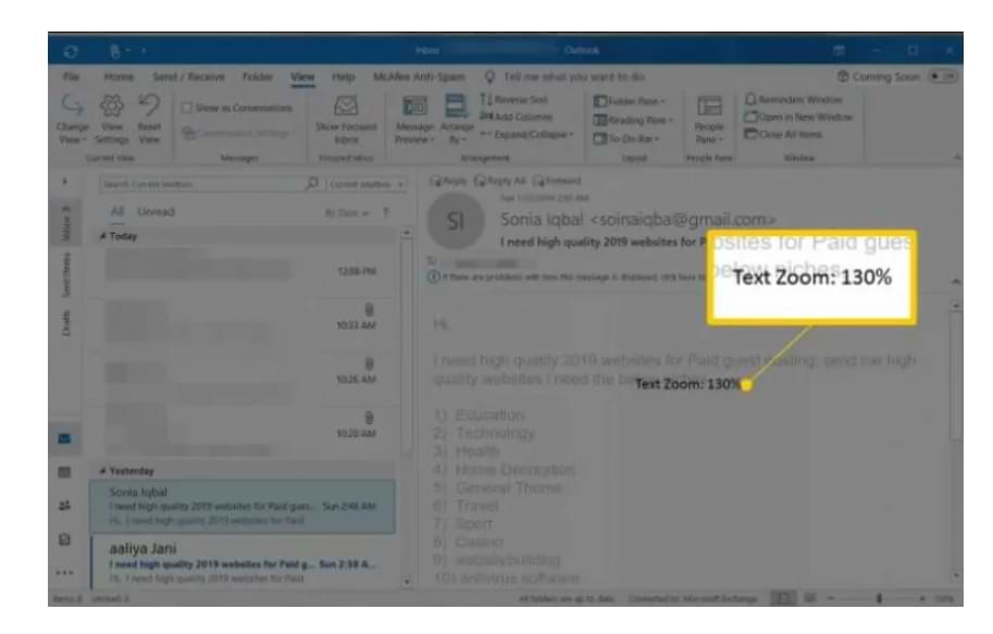 How to Change Font Size when Reading Emails in Outlook