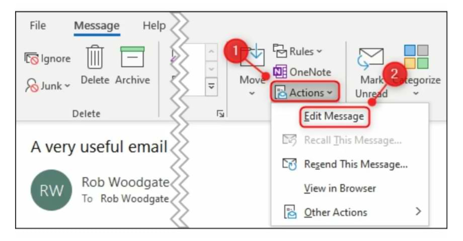 How to Edit Incoming Email in Microsoft Outlook