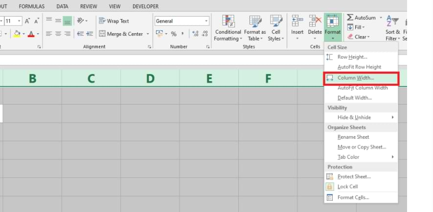 How to Set Column and Row Size in Microsoft Excel